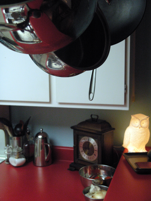 viennese chime clock and luna the owl in the newly-painted kitchen